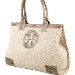 Tory Burch neutral snake print accent tote.